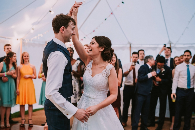 Couple having their first dance in a Cheshire marquee