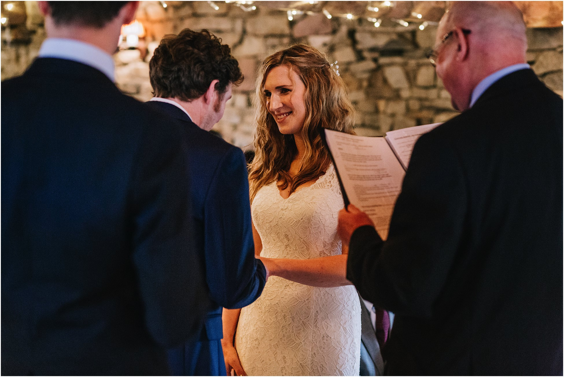 Couple saying their wedding vows at Hyde Bank Farm