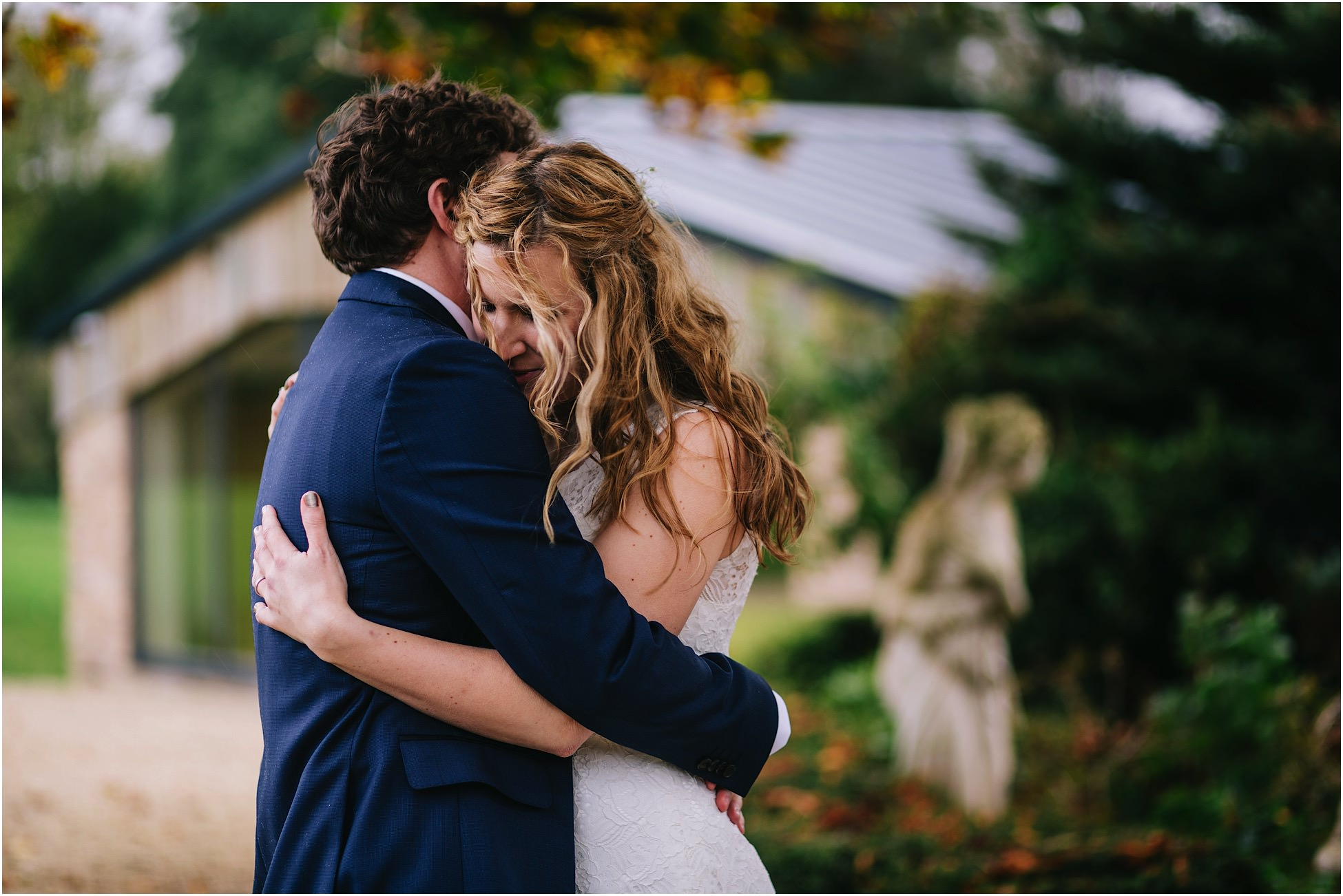 Hyde Bank Farm wedding photography - bride and groom hug