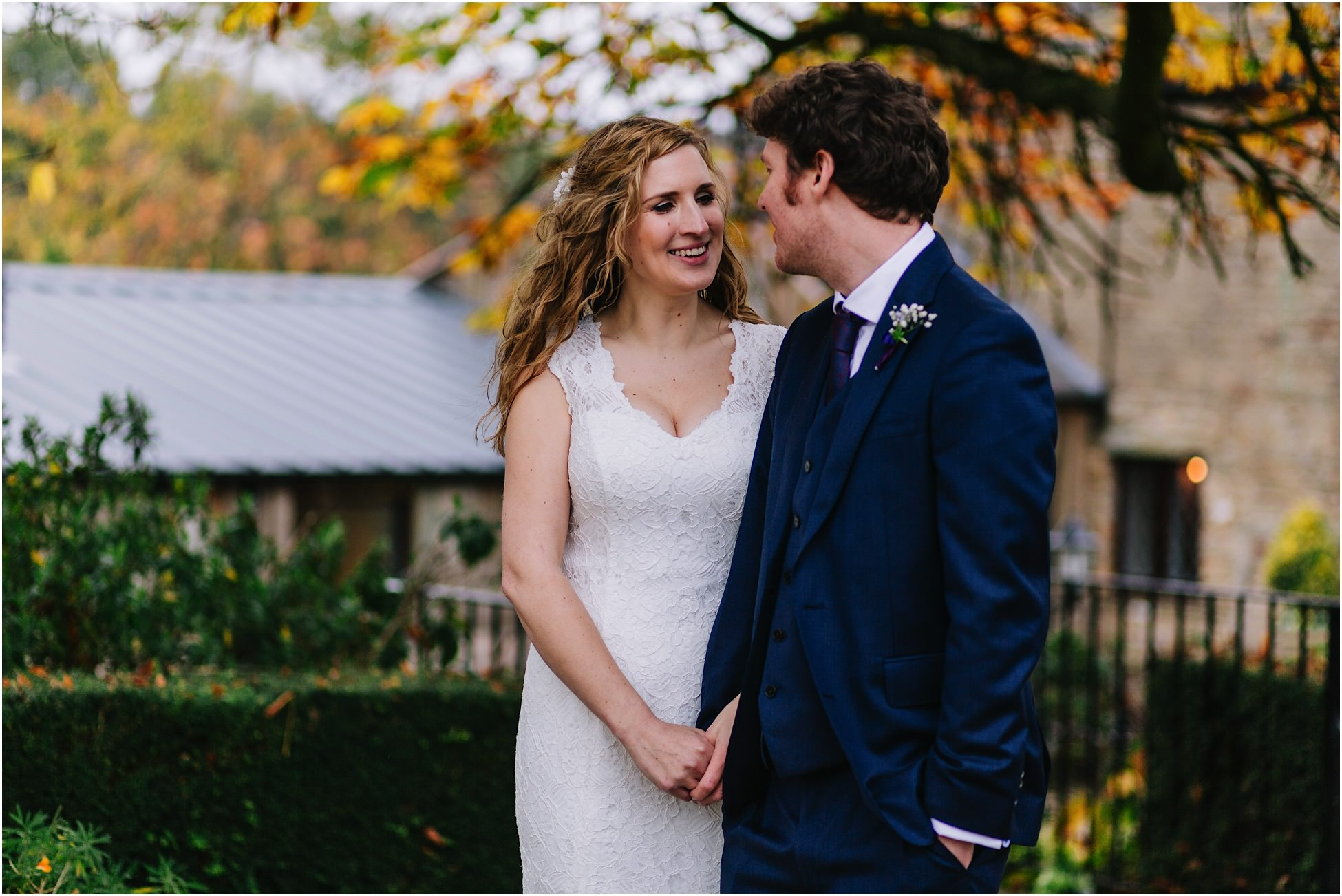 A happy bride and groom at their Hyde Bank Farm wedding