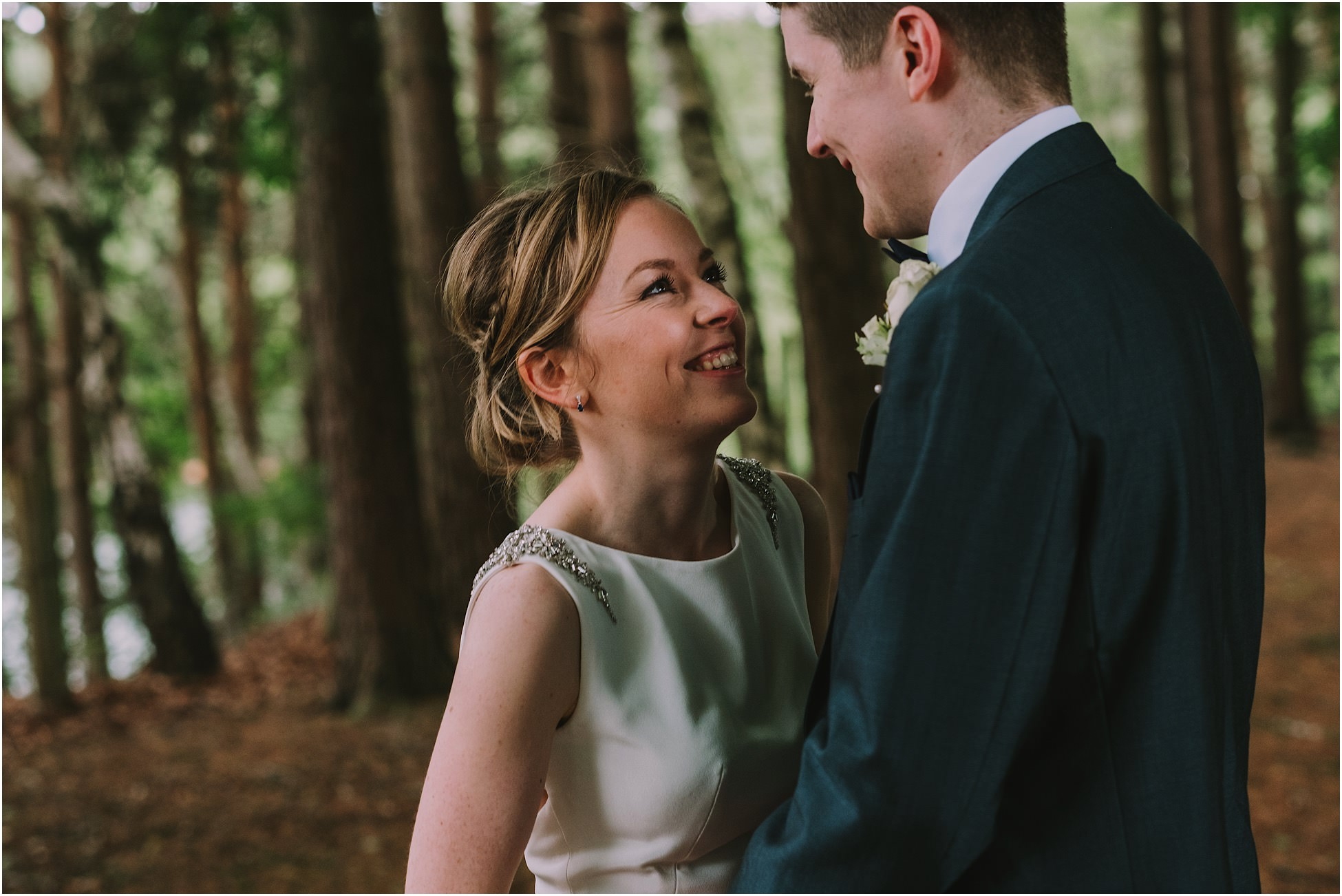 A portrait of the bride and groom at their Nunsmere Hall wedding