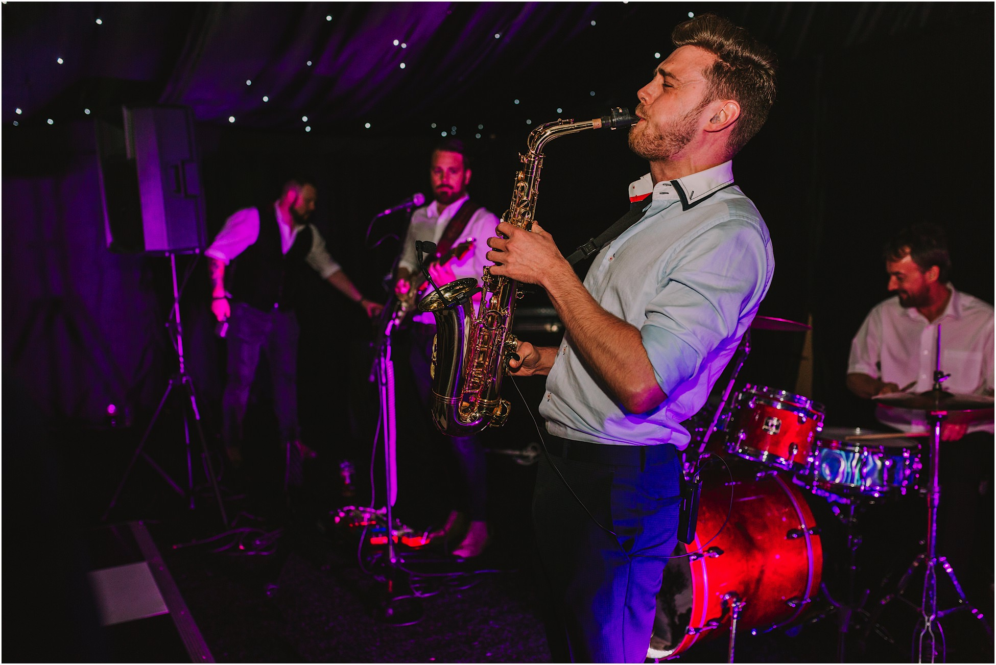 The Rush onstage at a Nunsmere Hall wedding