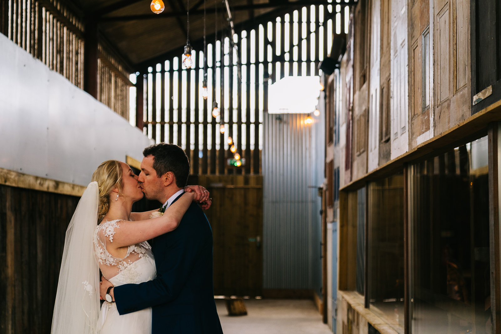 Bride and groom in Owen House Wedding Barn